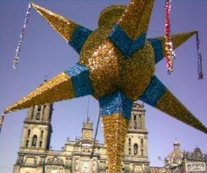 Puzle Tradiční piñata v Mexiku na Vánoce, devět-hvězda, hvězda Betlémská