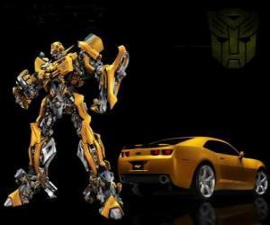 Puzle Transformers, auto a robot, v němž transformace