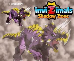 Puzle Triceratops. Invizimals Shadow Zone. Invizimals býložravec s velkou sílu a statečnost