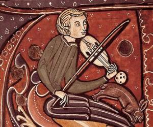 Puzle Trubadúr nebo potulný zpěvák, básník a zpěvák-skladatel zábava umělce středověku v Evropě