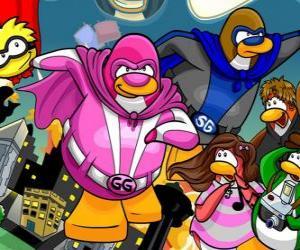 Puzle Tučňáci superhrdinové z Club Penguin