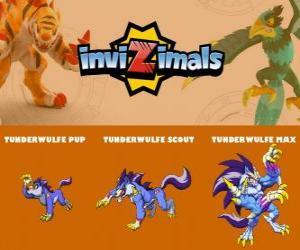 Puzle Tunderwulfe ve třech fázích Tunderwulfe Pup, Tunderwulfe Scott a Tunderwulfe Max, Invizimals
