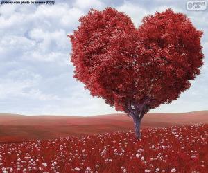Puzle Tvar srdce strom