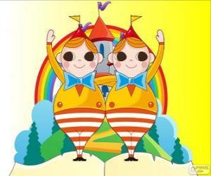 Puzle Tydlidýn a Tydlidum, dva mladí dvojčata