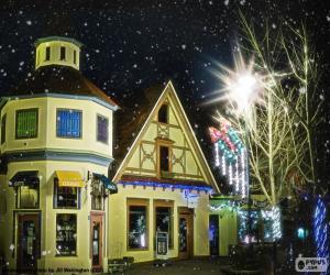 Puzle Ulice s vánoční osvětlení