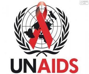 Puzle UNAIDS logo. Společný program OSN pro HIV / AIDS