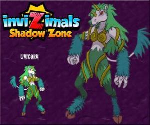 Puzle Unicorn. Invizimals Shadow Zone. Plachá zvířata, jednorožci jsou velmi obtížné najít