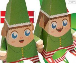 Puzle Vánoční elfové papíru