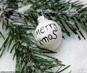 Puzle Vánoční koule, Merry Xmas