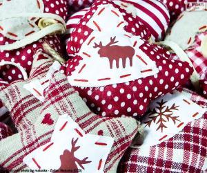 Puzle Vánoční ozdoby, tkanina