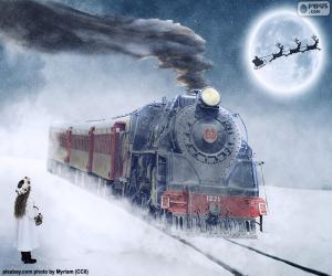 Puzle Vánoční parní lokomotiva