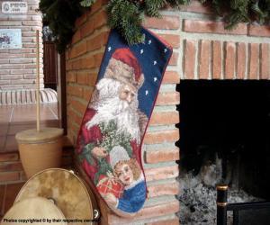 Puzle Vánoční ponožka visel na komín