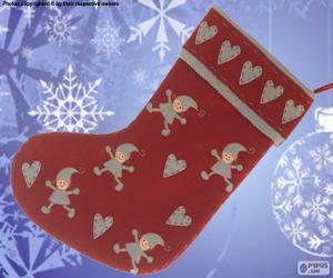 Puzle Vánoční ponožka zdobeny elfy a srdce