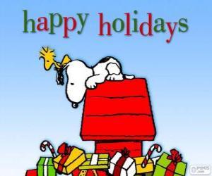 Puzle Vánoční Snoopy