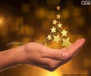 Puzle Vánoční strom, hvězdy