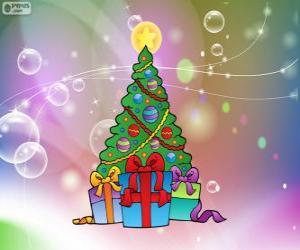Puzle Vánoční strom kreslení