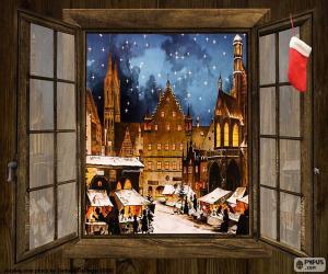 Puzle Vánoční trh, okno