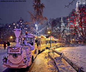 Puzle Vánoční trh vlak