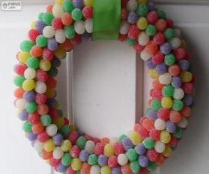Puzle Vánoční věnec bonbony