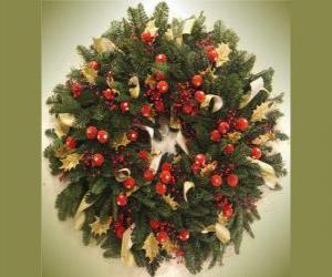 Puzle Vánoční věnec s ovocem