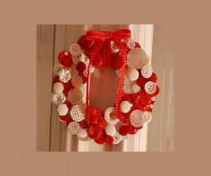 Puzle Vánoční věnec s tlačítky a červenou mašlí