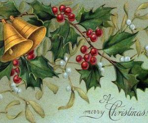 Puzle Vánoční zvonečky zdobené listy cesmíny