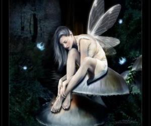 Puzle Víla sedící na houby
