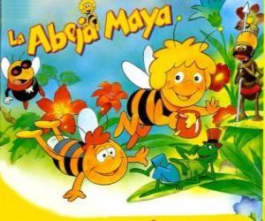 Puzle Včelka Mája a její přítel Willi pod pohledem Flip a další postavy