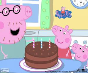 Puzle Všechno nejlepší k narozeninám Peppa Pig