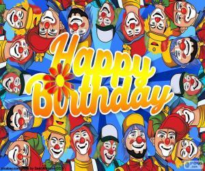 Puzle Všechno nejlepší k narozeninám s klauni