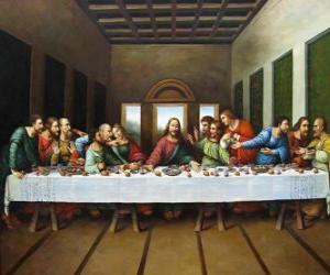 Puzle Večeře Páně a Poslední večeře - Ježíš se svými apoštoly, shromážděné v noci na Zelený čtvrtek