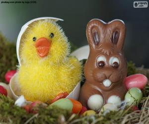 Puzle Velikonoční kuře a králík