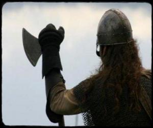 Puzle Viking pozorovala vyzbrojený sekerou