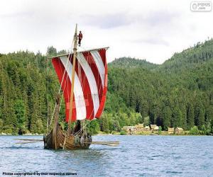 Puzle Viking veslařů člunu
