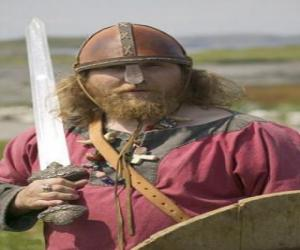 Puzle Viking vyzbrojen mečem a štítem
