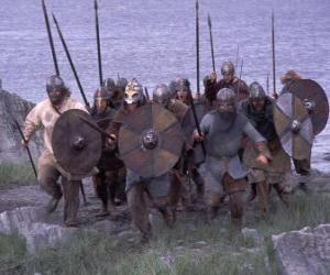 Puzle Vikings vyloďování jeho loď úplně ozbrojený a se štítem a kopím v ruce