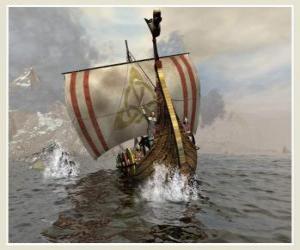 Puzle Vikingské lodi nebo longship plout oteklé větrem