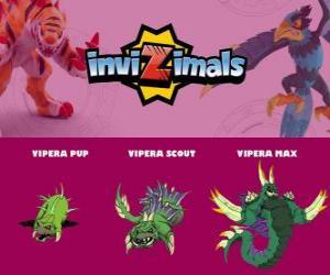 Puzle Vipera ve třech fázích Vipera Pup, Vipera Scott a Vipera Max, Invizimals