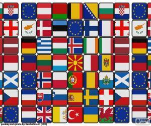 Puzle Vlajky Evropy