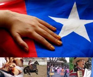 Puzle Vlastenecké oslavy v Chile. Osmnácté konalo ve dnech 18. a 19. září při příležitosti Chile jako nezávislého státu