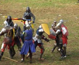 Puzle Vojáků, kteří bojují s meči a štíty