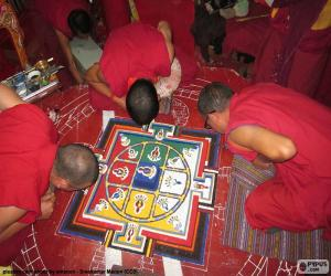 Puzle Vytváření mandaly mnichy