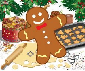 Puzle Vyzdobené perník muž cookie