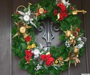 Puzle Vyzdobený vánoční věnec