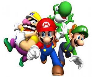 Puzle Wario, Mario, Yoshi a Luigi