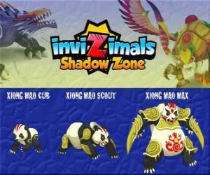 Puzle Xiong Mao Cub, Xiong Mao Scout, Xiong Mao Max. Invizimals Shadow Zone. Tato obří tvor je první strážce hrobky Dračího císaře