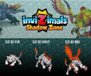 Puzle Xue Hu Cub, Xue Hu Scout, Xue Hu Max. Invizimals Shadow Zone. Bílý tygr na obloze je čtvrtý stráž Hrob Dračího císaře a nejsilnější