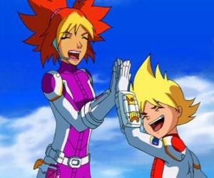Puzle Yoko a Brett jejich skafandry, oni jsou dva členové týmu Galaxy