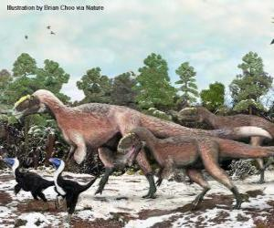 Puzle Yutyrannus s téměř 9 metrů dlouhá je největší dinosaura s peřím známé