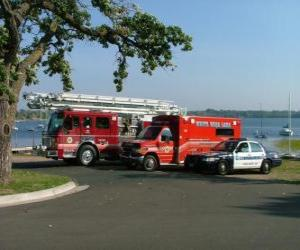 Puzle Záchranná vozidla Oheň, ambulance a policie